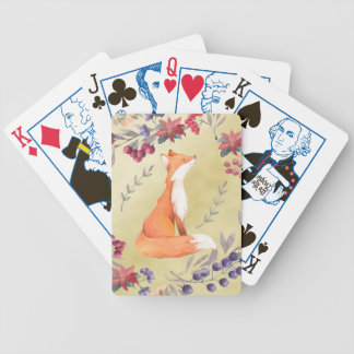 Watercolor Fox Winter Berries Gold Poker Deck