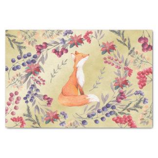 Watercolor Fox Winter Berries Gold Tissue Paper