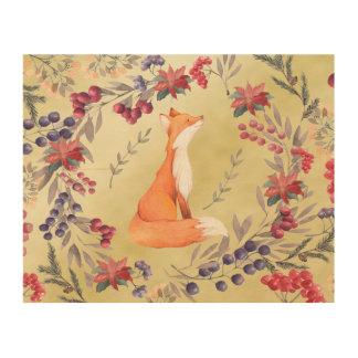 Watercolor Fox Winter Berries Gold Wood Wall Art