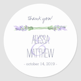 Watercolor French Lavender on White Wedding Classic Round Sticker