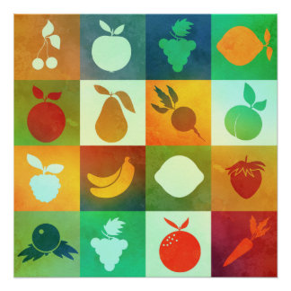 Watercolor fruit and vegetables poster