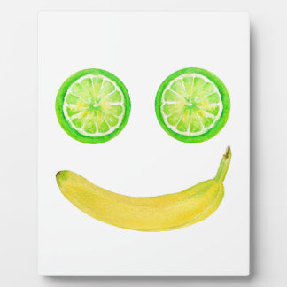 Watercolor fruit smiley face display plaque