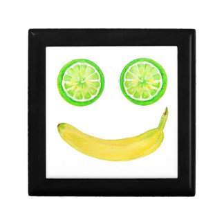 Watercolor fruit smiley face gift box