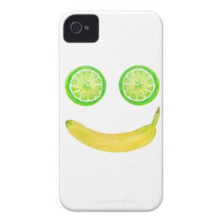 Watercolor fruit smiley face iPhone 4 cover