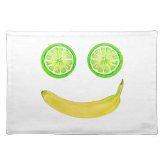 Watercolor fruit smiley face placemat