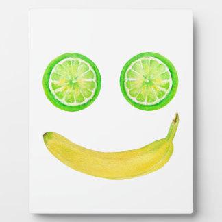 Watercolor fruit smiley face plaque