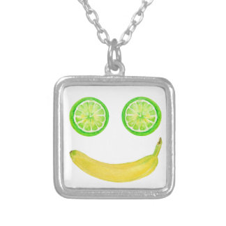 Watercolor fruit smiley face silver plated necklace