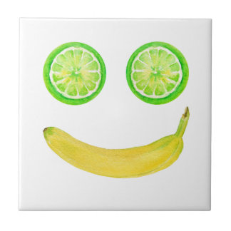 Watercolor fruit smiley face small square tile