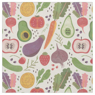 Watercolor Fruits & Veggies Fabric