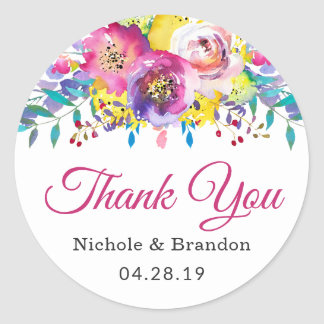 Watercolor Fuchsia Gold Floral Wedding Favor Classic Round Sticker
