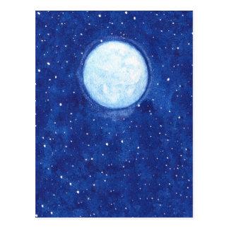 Watercolor Full Moon Postcard