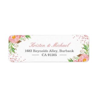 Watercolor Garden Botanical Blush Pink Floral Return Address Label