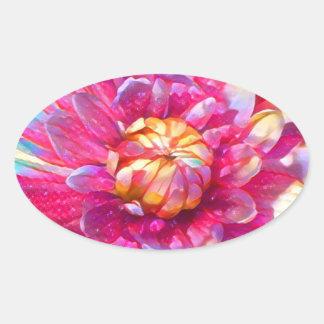 Watercolor Garden Flower Oval Sticker