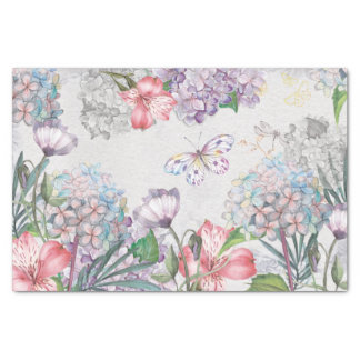 Watercolor Garden Flowers Butterfly Dragonfly Tissue Paper
