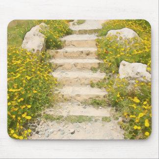 Watercolor garden mouse pad
