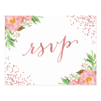 Watercolor Garden Pink Floral Confetti RSVP Reply Postcard