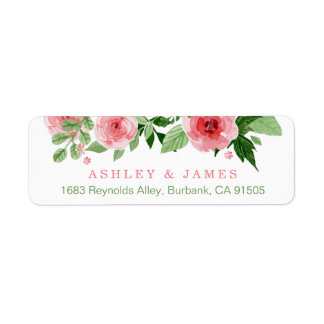 Watercolor Garden Rose Nature Flowers Return Address Label