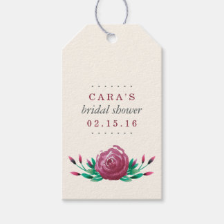 Watercolor Garden Roses Bridal Shower Favor Gift Tags