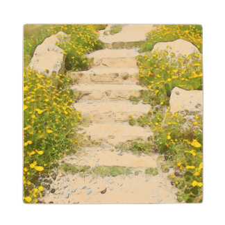 Watercolor garden wood coaster