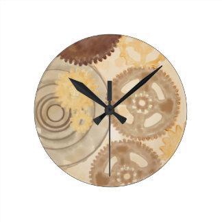 Watercolor Gears Round Clock