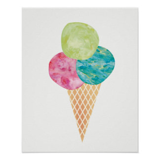 Watercolor gelato ice cream print poster