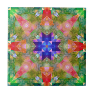 Watercolor Geometric Pattern Ceramic Tile