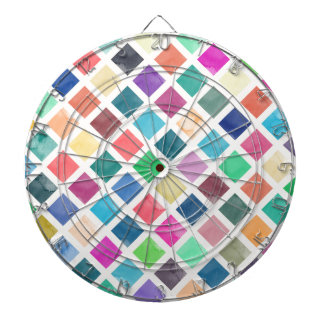 Watercolor geometric pattern dartboard with darts