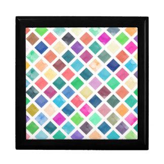 Watercolor geometric pattern gift box