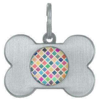 Watercolor geometric pattern pet name tag