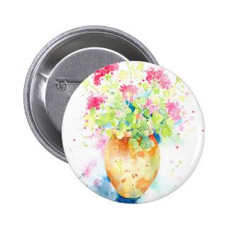Watercolor geranium in terracotta pot 6 cm round badge