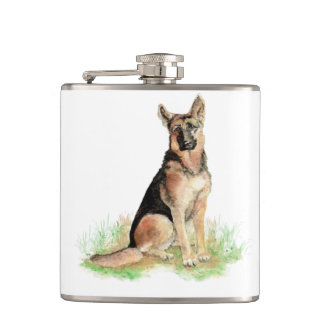 Watercolor German Shepherd Dog Pet Cute Animal Hip Flask