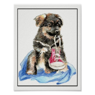 Watercolor German Shepherd Puppy Dog with shoe Poster