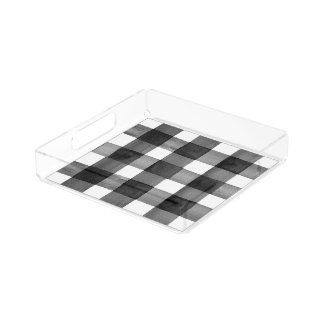 Watercolor Gingham Small Acrylic Tray