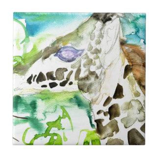 watercolor GIRAFFE .1 Tile