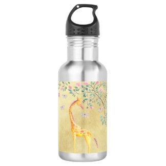 Watercolor Giraffe Butterflies and Blossom 532 Ml Water Bottle