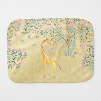 Watercolor Giraffe Butterflies and Blossom Burp Cloths