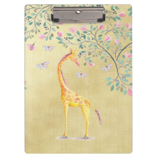 Watercolor Giraffe Butterflies and Blossom Clipboard