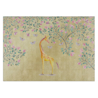 Watercolor Giraffe Butterflies and Blossom Cutting Board