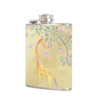 Watercolor Giraffe Butterflies and Blossom Hip Flask