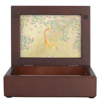 Watercolor Giraffe Butterflies and Blossom Keepsake Box