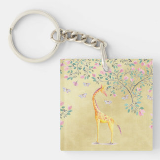 Watercolor Giraffe Butterflies and Blossom Single-Sided Square Acrylic Key Ring