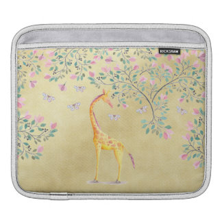 Watercolor Giraffe Butterflies and Blossom Sleeves For iPads
