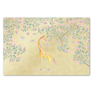 Watercolor Giraffe Butterflies and Blossom Tissue Paper