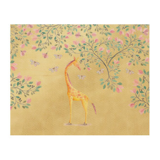 Watercolor Giraffe Butterflies and Blossom Wood Canvas