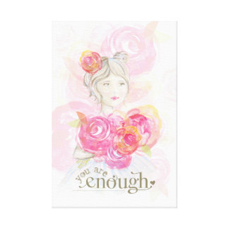 Watercolor girl with flowers _ You Are Enough Canvas Print