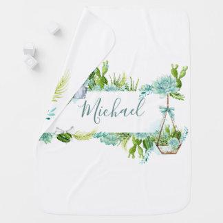 Watercolor Glass Terrarium Succulents Baby Shower Baby Blanket