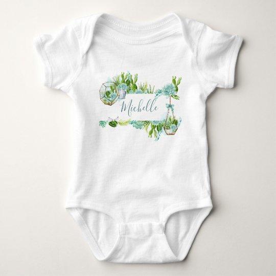 Watercolor Glass Terrarium Succulents Baby Shower Baby Bodysuit