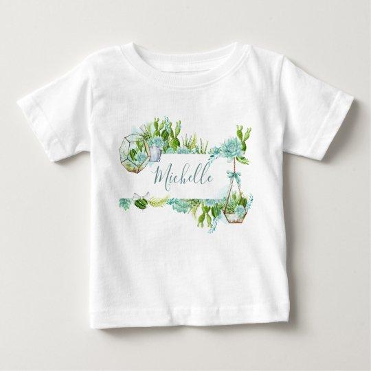 Watercolor Glass Terrarium Succulents Baby Shower Baby T-Shirt