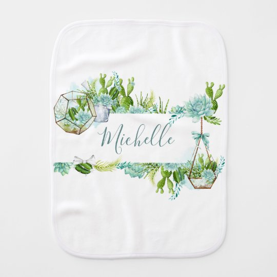 Watercolor Glass Terrarium Succulents Baby Shower Burp Cloth
