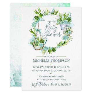 Watercolor Glass Terrarium Succulents Baby Shower Card